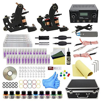 Wormhole Tattoo Complete Tattoo Kit 2 Tattoo Machine Dual Power Supply 30 Tattoo Needles 10 Color Inks with Tattoo Kit Case for Beginners and Artist (TK1000035)