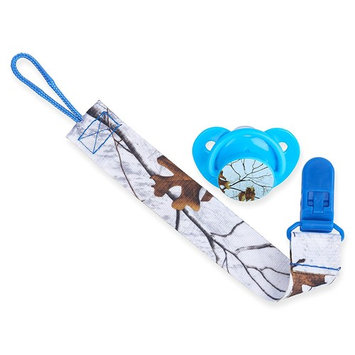Orthodontic Pacifier and Lanyard Clip Combo| Realtree Xtra Colors Blue, BPA Free and Dishwasher Safe Pacifier