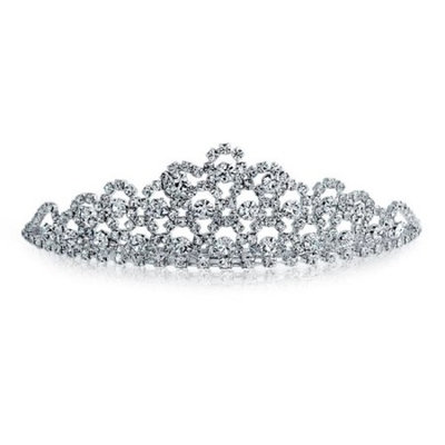 Rhinestone Crystal Crown Wedding Bridal Tiara Silver Plated