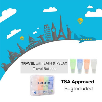Travel Bottles Leak Proof Travel Toiletry Bottles set of 4 pack For All Liquid Toiletries Containers with TSA Approved Bag Travel Size toiletries Silicone