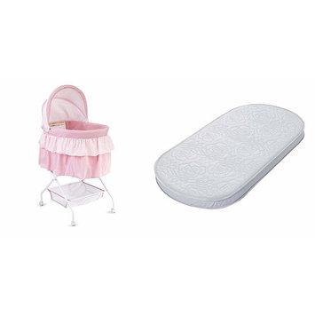 Big Oshi Waterproof Oval Bassinet Mattress and Indoor, Bedside Bassinet for Newborn Baby, Pink [Bassinet & Mattress]