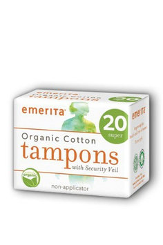 Organic Cotton Super Non-Applicator Tampons Emerita 20ct Box