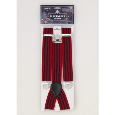 Roaring 20s Red & Blue Striped Suspenders