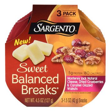 Sargento Balanced Breaks Monterey Jack Natural Cheese, Dried Cranberries & Caramel Glazed Walnuts, 4.5 Oz., 3 Count