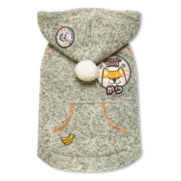 Touchdog Hippie Designer Sleeveless Pompom Dog Hooded Sweater Olive Green
