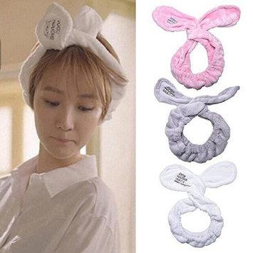 Super Cute Big Rabbit Ear Soft Towel Adjustable Twist Headband,Hair Band for Spa Bath Shower Make Up Wash Facial (Light Gray)