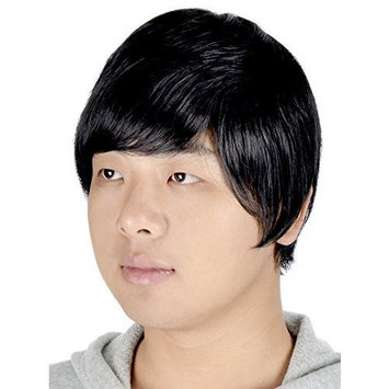 Simplicity Men's Fashion Short & Layered Wig with Free Wig Cap, Black