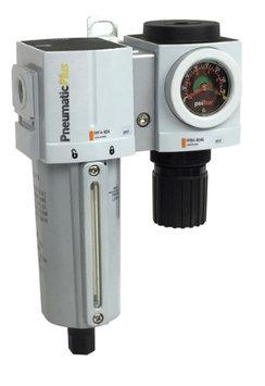 PneumaticPlus PPC4B-N06G-Q1 Compressed Air Filter Regulator Modular Combo 3/4' NPT, Particulate Air Filter (5 Micron), 152 SCFM, Manual Drain, Metal Bowl, Gauge