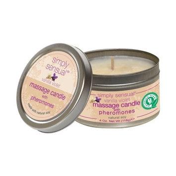 Classic Erotica Simply Sensual Vanilla Violet Massage Candle With Phermomones, natural soy, 4 oz.