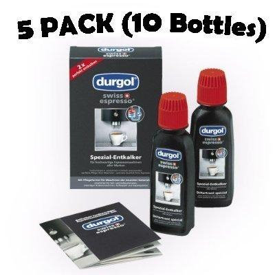 Durgol Swiss Espresso Decalcifier for Espresso and Coffee Machines 5 Pack (10 Bottles), 4.2 oz each bottle