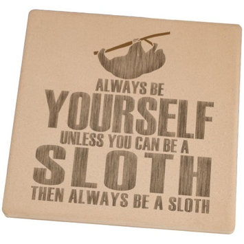 Animal World Always Be Yourself Sloth Set of 4 Square Sandstone Coasters