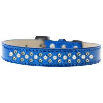 Mirage 616-13 BL-20 Sprinkles Ice Cream Dog Collar Pearl/AB Crystals Blue -20