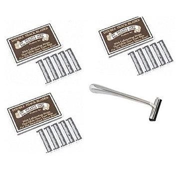 Trac II Chrome Handle + Colonel Ichabod Conk Track II Razor Blades 10 ct. (Pack of 3) + FREE Luxury Luffa Loofah Bath Sponge On A Rope, Color May Vary