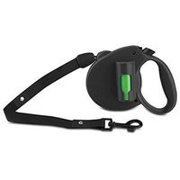 Ec Solutions Paw Bio Retractable Leash With Green Pick-Up Bags, Black