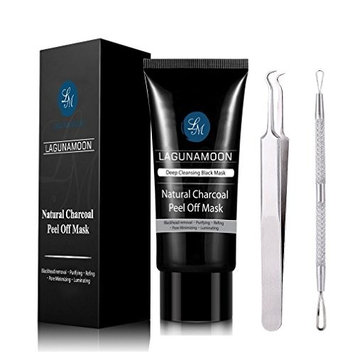 Lagunamoon Purifying Black Mask Charcoal Peel Off Mask, Blackhead Mask with Blackhead Remover Tool Kit