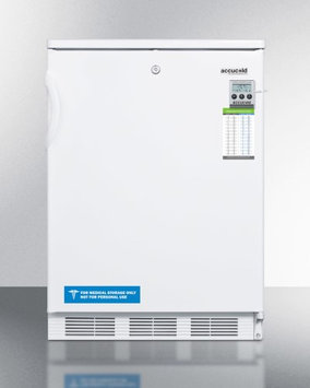Summit ADA compliatn refrigerator-freezer with dual evaporator cooling, traceable thermometer, internal fan and a front lock