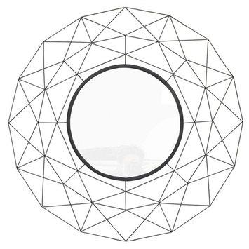 Aretha Geometrix Round Wall Mirror, Black