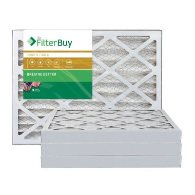 AFB Gold MERV 11 15x25x2 Pleated AC Furnace Air Filter. Filters. 100% produced in the USA. (Pack of 4)