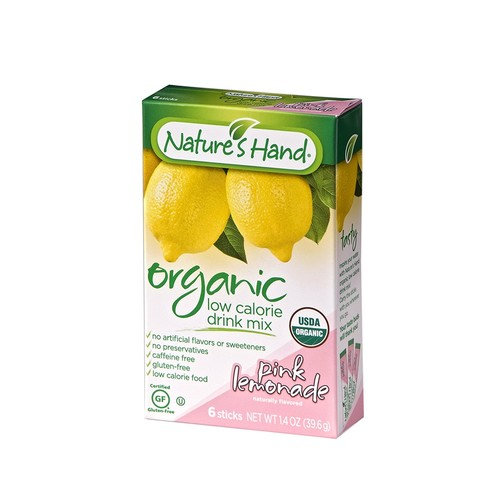 Nature's Hand Singles To Go Powder Packets - Low Calorie Pink Lemonade Drink Mix (12 Boxes with 6 Packets Each - 72 Total Servings)