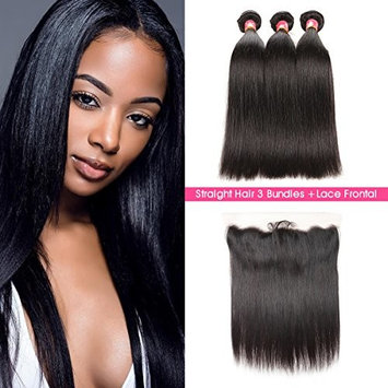 SuperNova Brazilian Straight Hair Weave Bundles with 13x4 Ear to Ear Full Lace Frontal Closure Unprocessed Human Hair Extensions Natural Color(16 18 20+14inch)
