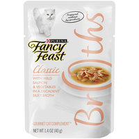 Fancy Feast Broths Classic Salmon & Vegetable Cat Food Complement, 1.4 oz, Pack of 32