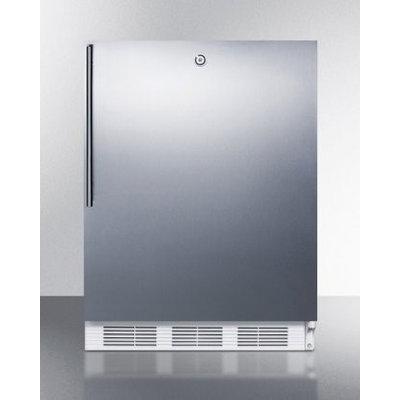 SUMMIT ADA compliant freestanding all-refrigerator with lock, stainless steel door, and horizontal handle