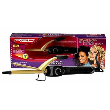 Kiss Products Red Ceramic Curling Iron, 0.37 Inch, 1 Pound