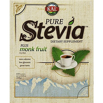 KAL, Pure Stevia, Plus Lo Han Guo Monk Fruit Extract, 2Pack (100 Packets, 3.5 oz (100 g))