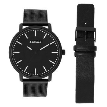 Surface Men's Black Mesh Strap Watch with Interchangeable Strap