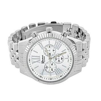 Geneva White Dial 2 Timezone Watch Fluted Bezel Water Resistant Platinum Sale