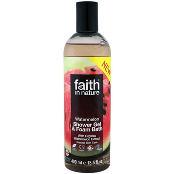 Faith in Nature, Shower Gel & Foam Bath, Watermelon, 13.5 fl oz (400 ml) [Scent : Watermelon]