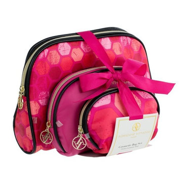 Adrienne Vittadini Set of 3 Dome Cosmetic Cases Black and Pink Hex