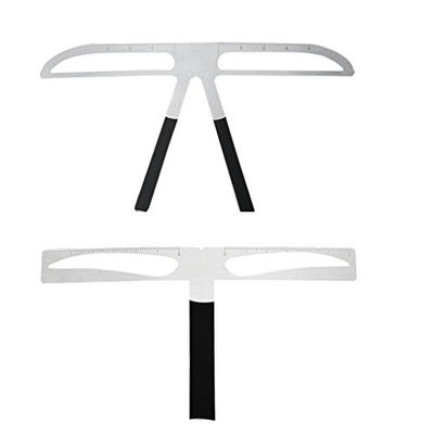 Fityle Pack of 2 Metal T-Shaped Straight Eyebrows Stencil Caliper Positioning Makeup Permanent Eyebrow Balance Ruler