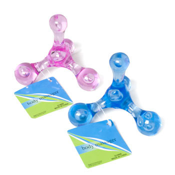 Dollaritemdirect BODY MASSAGER 2AST PINK OR BLUE TRANS PLASTIC W/4 ROUNDED ENDS, Case Pack of 24