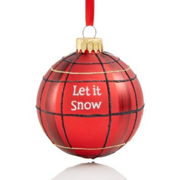 Glass ''Let It Snow'' Plaid Ball Ornament, Created for Macy's