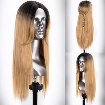 Persephone Fashion Ombre Bonde Wig Synthetic with Dark Roots Full Machine Made Honey Blonde Synthetic Wigs for Women 16 Inches