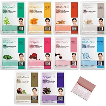 [Dermal] Collagen Essence Mask X 10 Set Bundle with Oil Blotting Paper - Full Face Facial Sheet Mask Pack for Pores Cleaning Blackhead Remover Facial Skin : Beauty