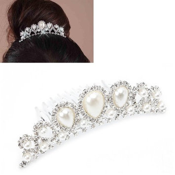 Gigory Bride Hair Comb Jewellery Silver Rhinestone Wedding Crown Faux Pearl Hair Clip Comb Tiara