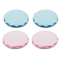 kesoto 4 Pieces Professional Crystal Glass Adhesive Glue Pallet Holder Tray For Eyelash Extension Set Makeup Tool Elegant Reusable Round Pink Blue