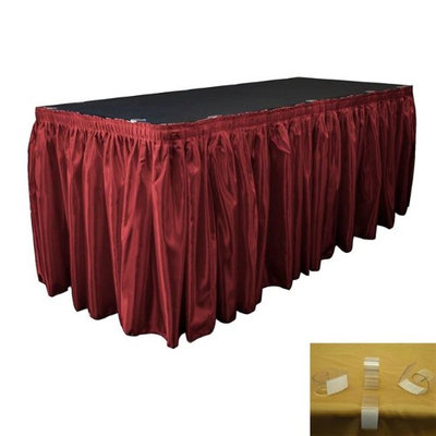 LA Linen SkirtBridal21X29-15Lclips-BurgundyB17 Bridal Satin Table Skirt with 15 L- Clips Burgundy - 21 ft. x 29 in.