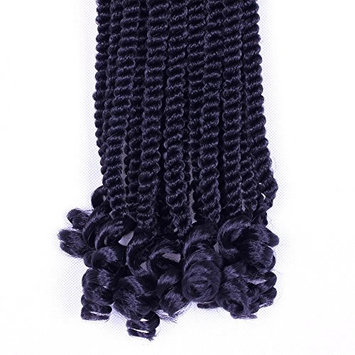 Furice 14Inch Senegal Twist Curly Goddess Crochet Hair With Wave End Crochet Braids Hair 3Pack/Lot Senegalese Twist Hair Crochet Braids Synthetic Hair Extension 20Strands/Pack 100g (14inch 1B)