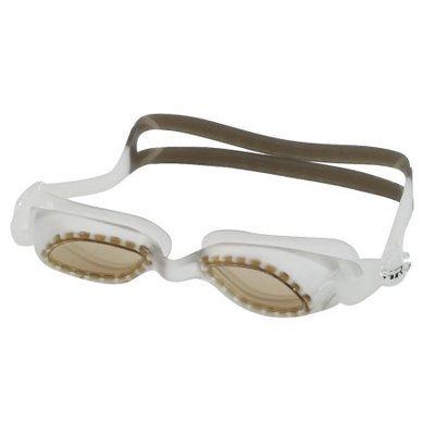 Adjustable Strap Plastic Frame Swimming Swim Goggles Light Brown w Pair Earplugs