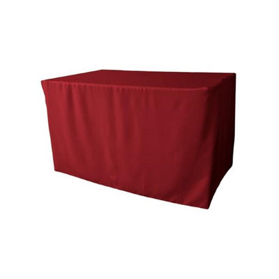 LA Linen TCpop-fit-48x30x30-CranberryP28 1.8 lbs Polyester Poplin Fitted Tablecloth Cranberry