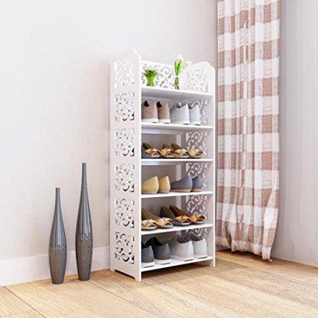 Dl-furniture DL furniturre - WPC Tall 6 Tier Multipurpose Shoe Rack & Book Shelf L16.5