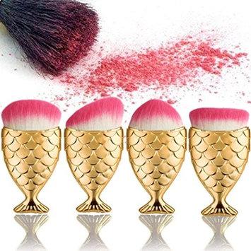 Makeup Brush, Lookatool 4PC/Set Fish Scale Makeup Brush Fishtail Bottom Brush Powder Blush Makeup Cosmetic Brush
