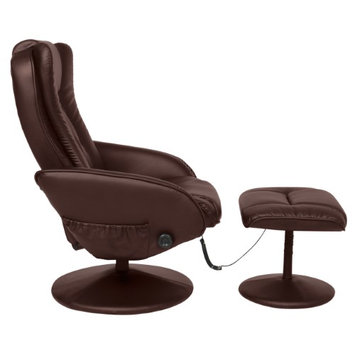 Sky Best Choice Products Leather Massage Recliner and Ottoman Set W/ Double Padding, Remote- Brown