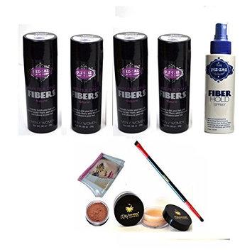 Bundle 6 Items: Piz-zaz Hair Fibers 4x Hair Fibers+ Hold Fiber Spray + Matching Itay Brow Building Fiber Set