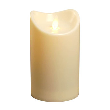 Lumabase Action Flame Flameless Pillar Candle, 5