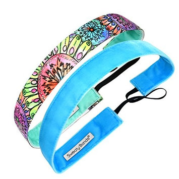 Sweaty Bands Womens Girls Headband - Non-Slip Velvet-Lined Fashion Performance Hairband - 2-Pack Kabloom Flowers and Smooth As Velvet Turquoise 1-inch