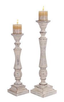 Uma Wood Candle Hldr S/2 23, 19h